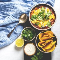 Black bean and corn nacho soup.
