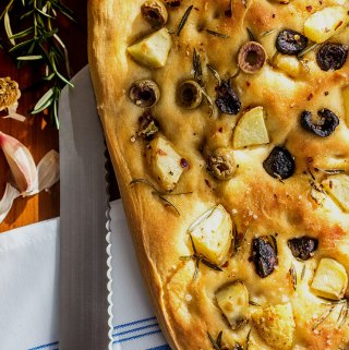 Potato foccacia with olives and rosemary