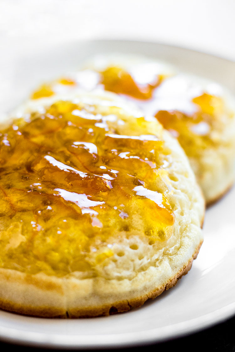 Chai spiced grapefruit marmalade on toasted crumpets.