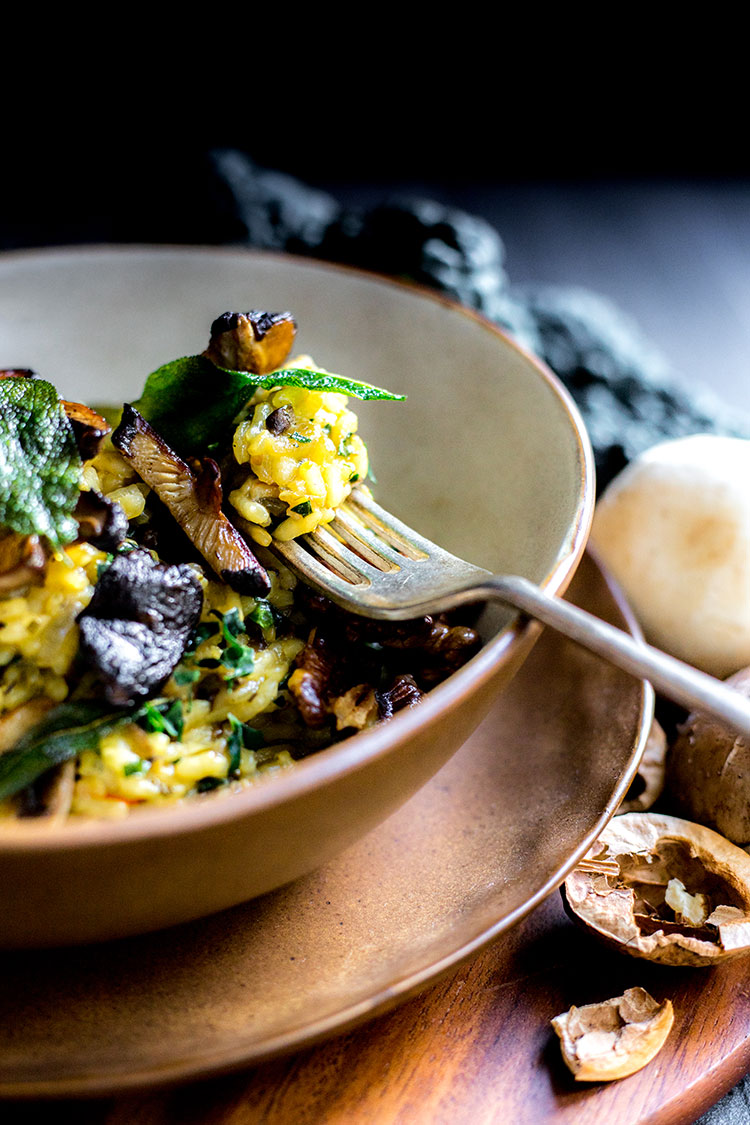Vegan mushroom and kale risotto with saffron and sage.