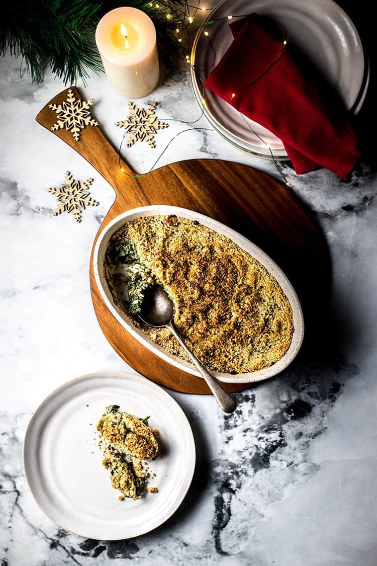 Vegan creamed spinach gratin (gluten free).