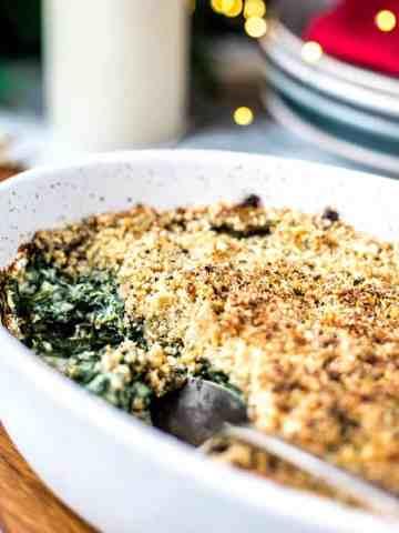 Vegan creamed spinach gratin.