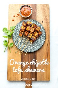 Orange chipotle tofu skewers are a step away from typical soy-based marinades, and the charred, caramelised cubes are just delicious in soft tacos or with your favourite salad. Vegan and gluten free.