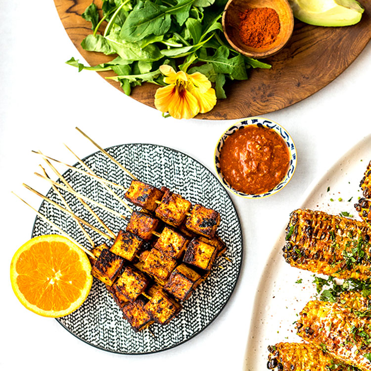 Orange chipotle tofu skewers