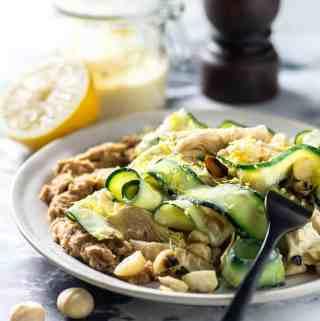Zucchini, artichoke and macadamia salad