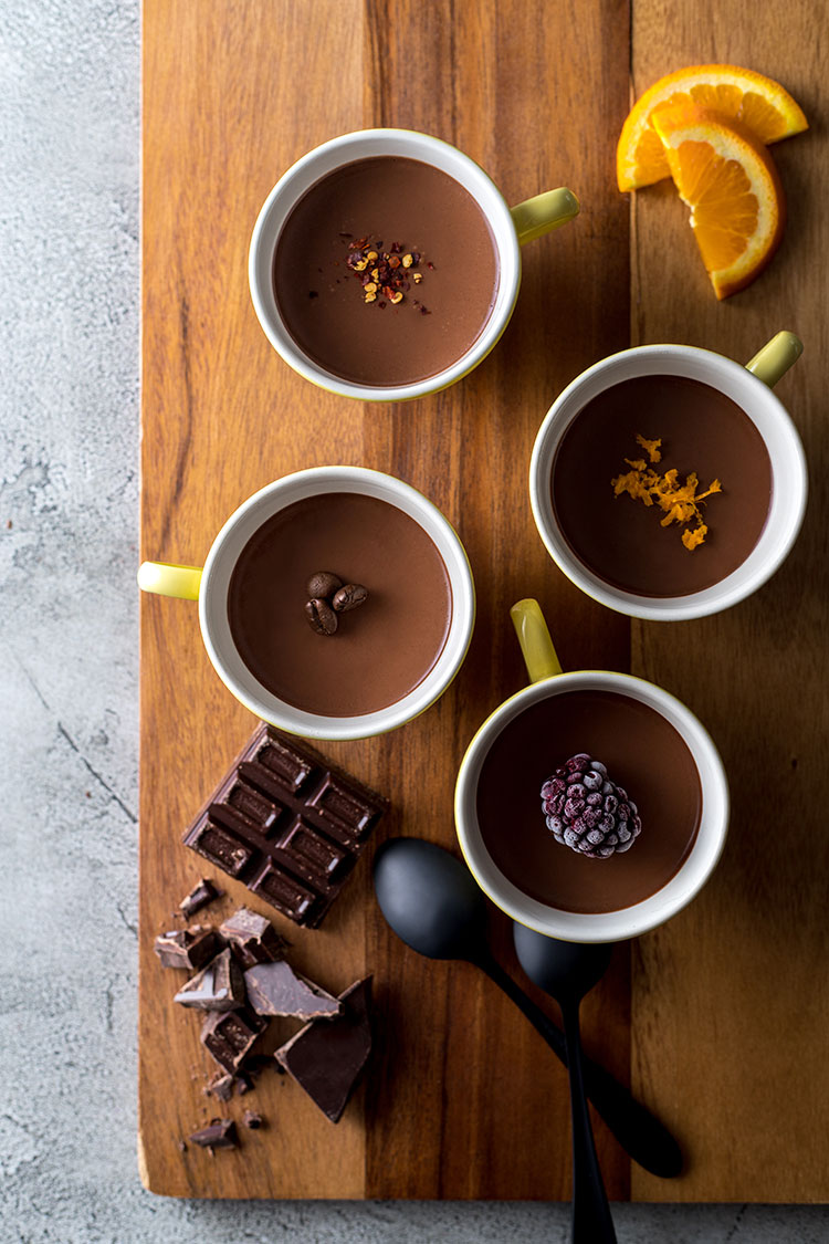 Vegan dark chocolate pots four ways.