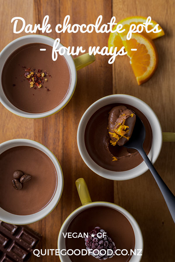 Rich and indulgent, these vegan dark chocolate pots made with just a few simple ingredients can be customised to suit your own personal taste.