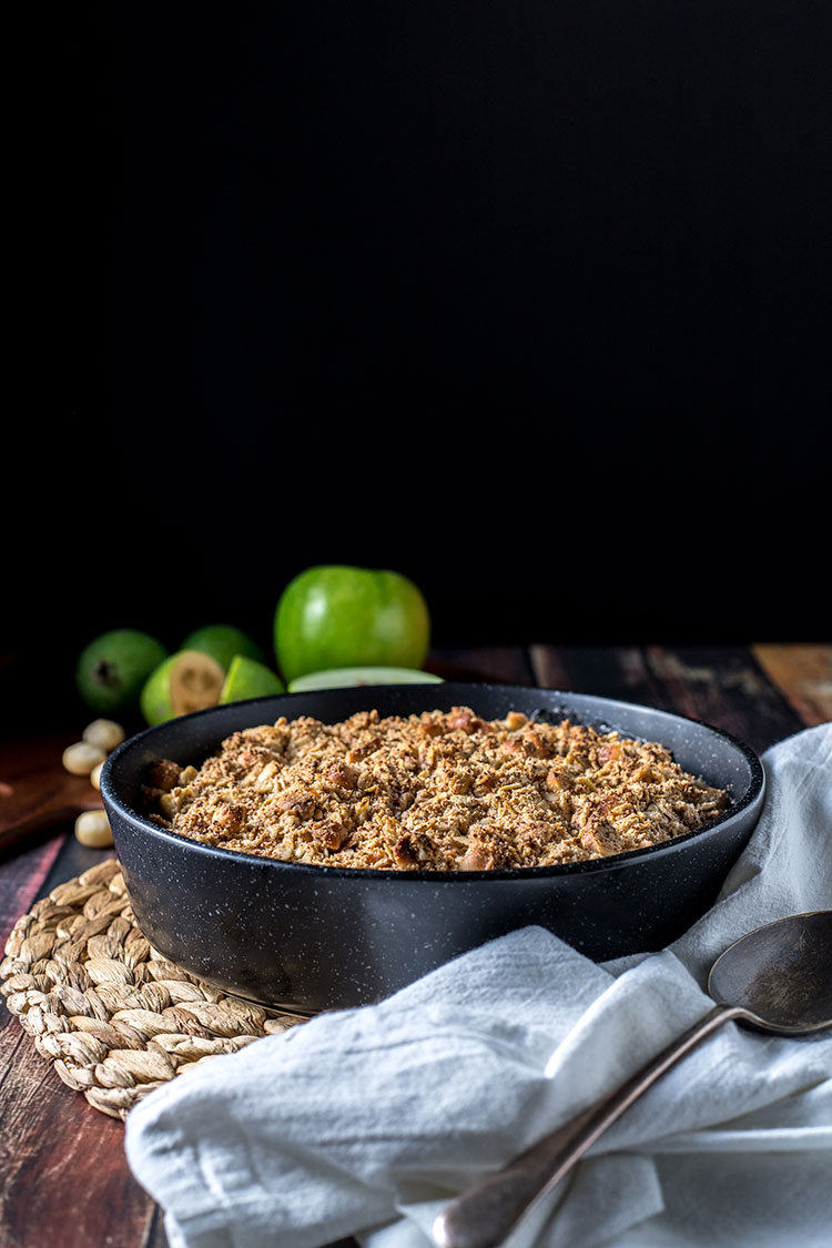 Apple and feijoa crumble with macadamias (vegan, gluten free, refined sugar free).