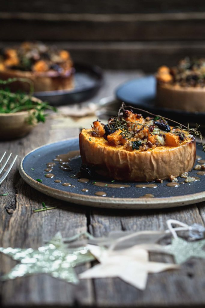 Vegetarian holiday stuffed squash by My Goodness Kitchen