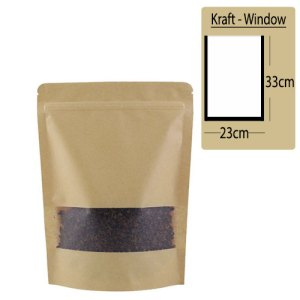 Quiware Stand Up Zip Lock Kraft – Window 23cm(Width) x 33cm(Long) -100 pouches