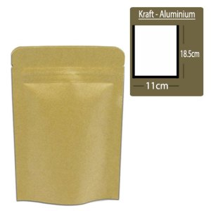 Quiware Stand Up Zip Lock Kraft – Inner Aluminium 11cm(Width) x 18.5cm(Long) -100 pouches