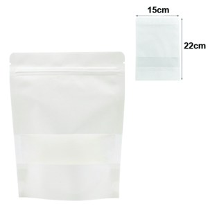 Quiware Stand Up Zip Lock White Kraft – Window 15cm(Width) x 22cm(Long) -100 pouches