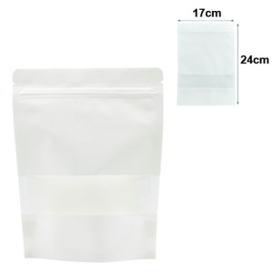 Quiware Stand Up Zip Lock White Kraft – Window 17cm(Width) x 24cm(Long) -100 pouches