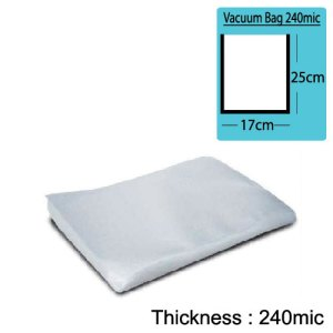 17cm(W) x 25cm(L) Both Sides Clear Vacuum Bag 240mic x100pcs