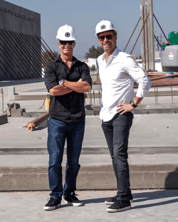Mikel & Jordan at the building of the North Valley Studios (August 2018)
