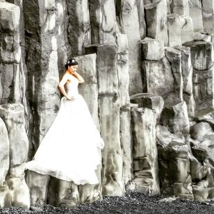 Bride on the Basalt Columns at the Black Sand Beach