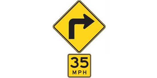 Quizagogo - US Road Signs - Curve sign with plaque