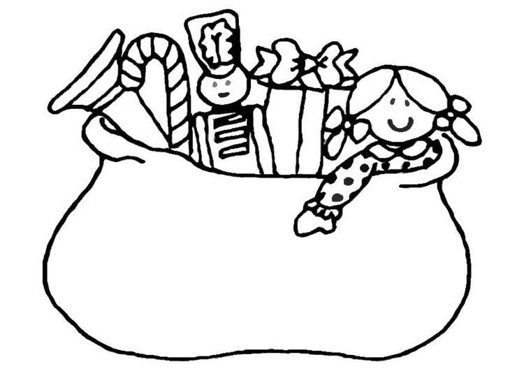 раскраска мешок с подарками на новый год