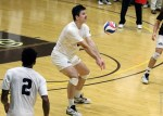 Senior Ian Lawson receive a ball.