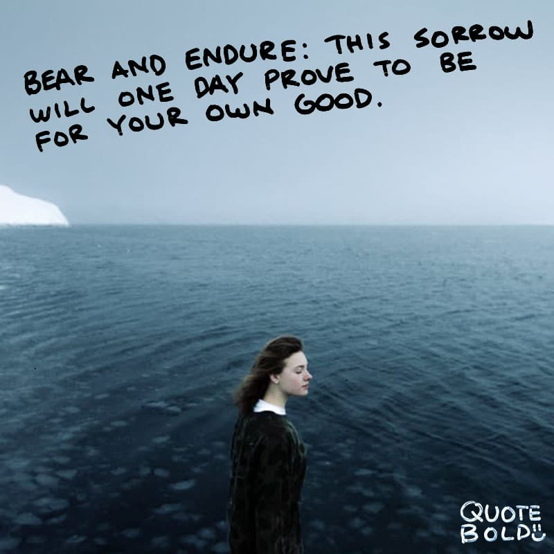 "quote ""Bear and endure: This sorrow will one day prove to be for your good."" - Ovid"
