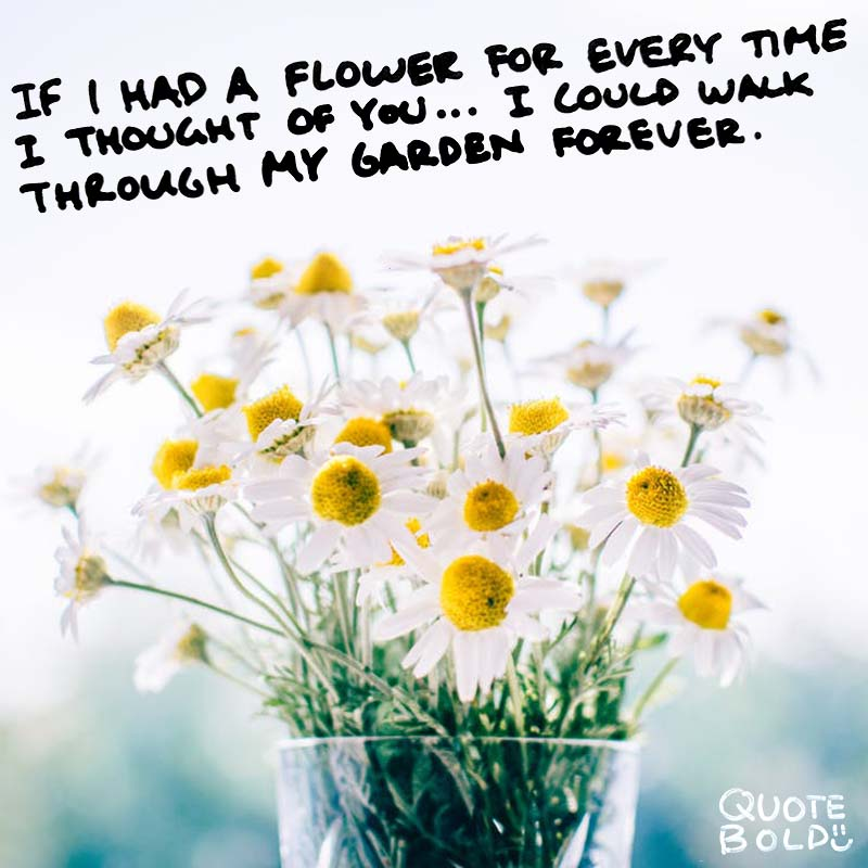 "quote ""If I had a flower for every time I thought of you...I could walk through my garden forever."" ― Alfred Tennyson"