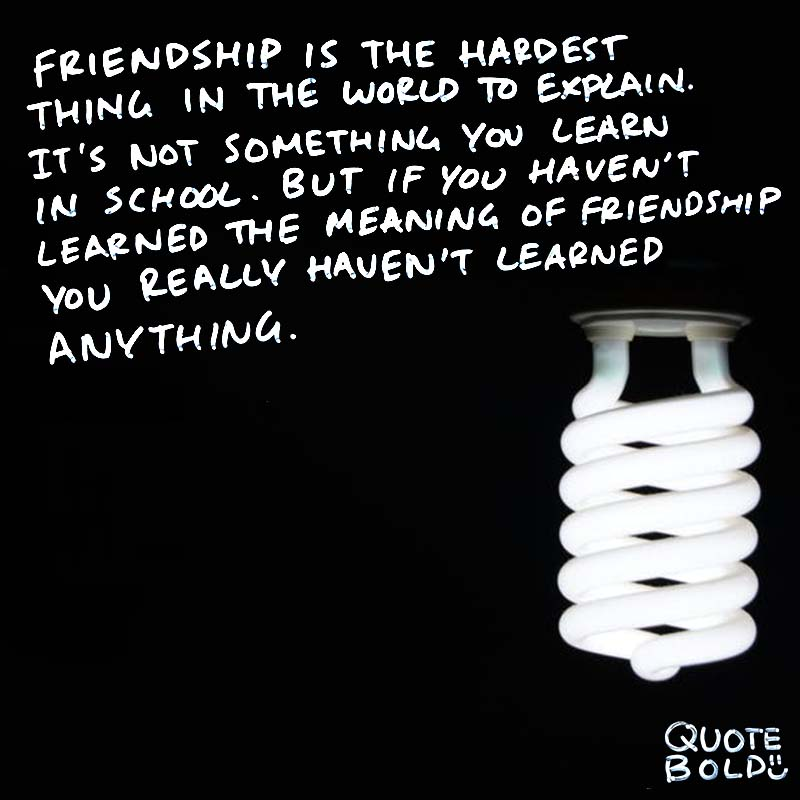 """best friend quotes - Muhammad Ali """"Friendship is the hardest thing in the world to explain. It's not something you learn in school. But if you haven't learned the meaning of friendship, you really haven't learned anything."""""""