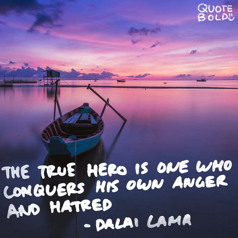 """life quotes - dalai lama """"The true hero is one who conquers his own anger and hatred."""""""