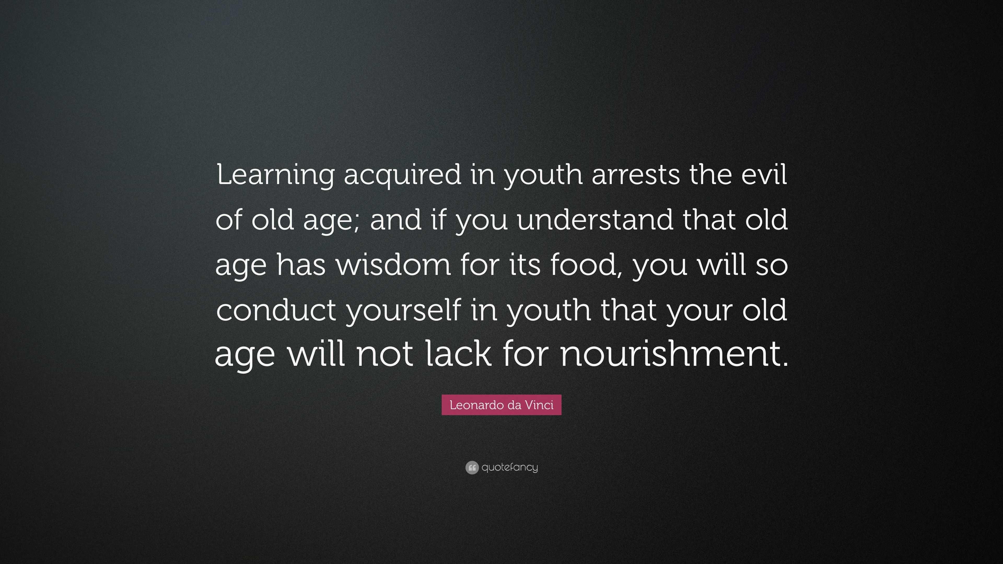 Leonardo Da Vinci Quote Learning Acquired In Youth