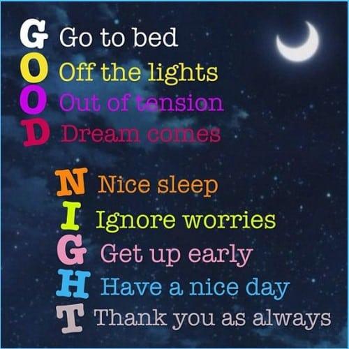 good night whats app status