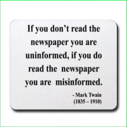 mark twain newspaper quotes