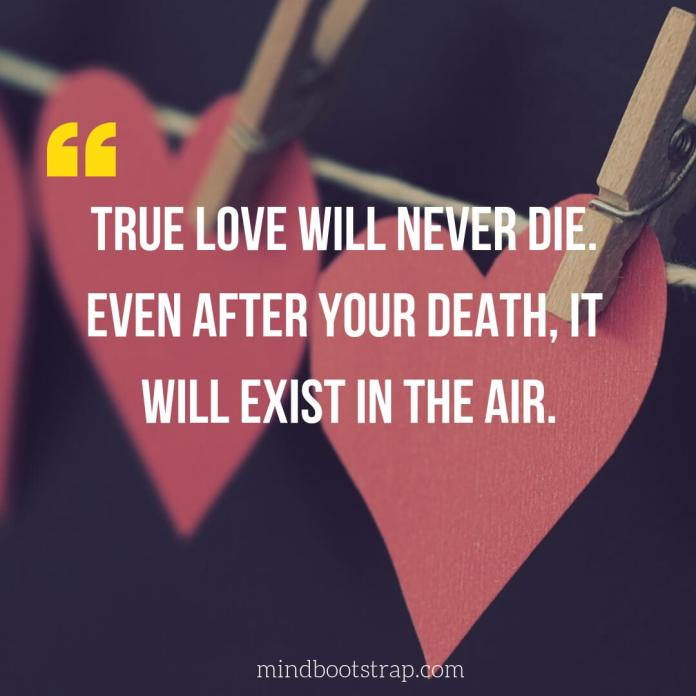 True Love Quotes & Sayings For Him or her | True love will never die. Even after your death, it will exist in the air.