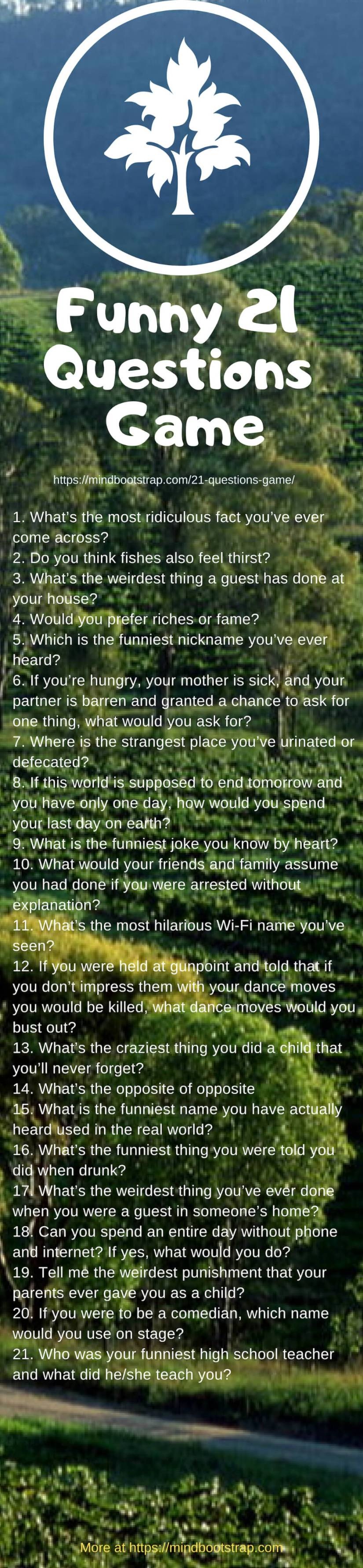 Funny 21 questions game to ask