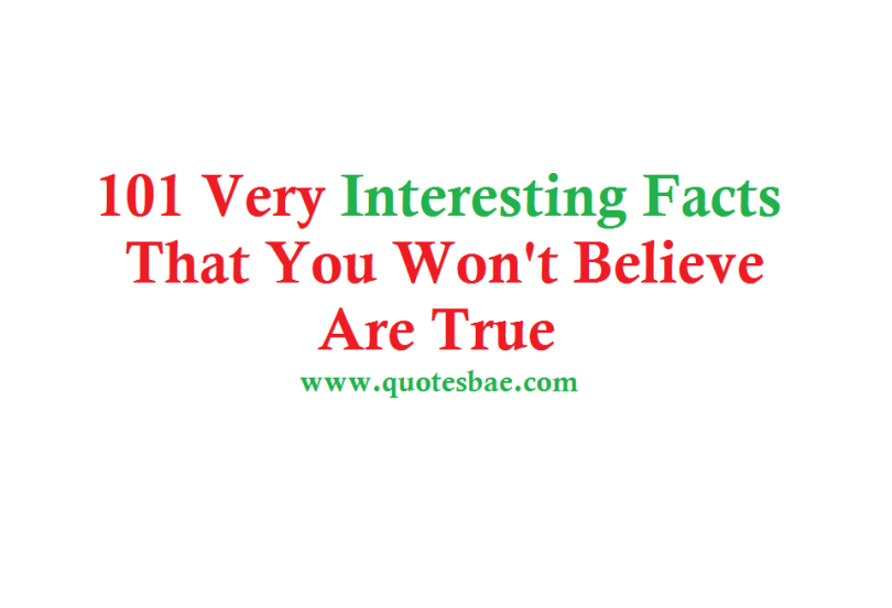 101 Very Interesting Facts That You Won't Believe Are True