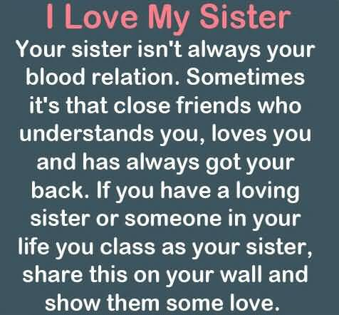 Love My Sister Quotes Best 20 I Love My Sister Quotes Sayings & Images  Quotesbae