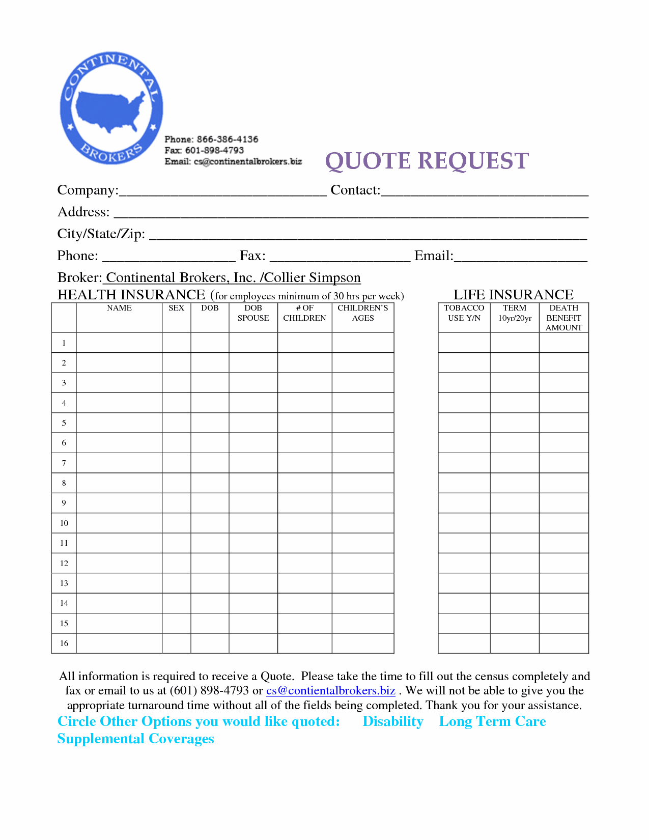 Quote Form Life Insurance Quote Form 17  Quotesbae