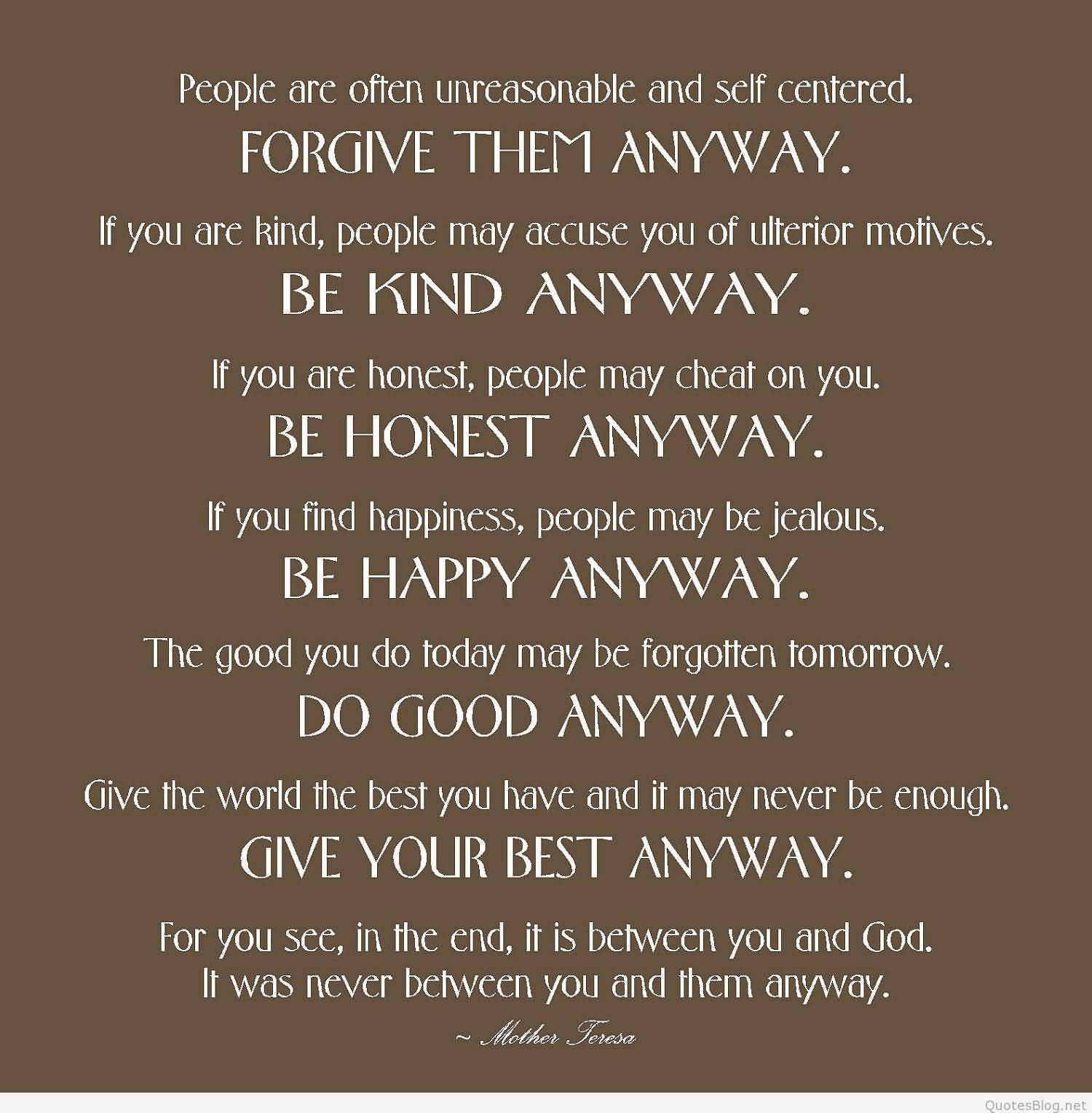 Love Quotes For Mother Mother Teresa Quotes Love Anyway 08  Quotesbae