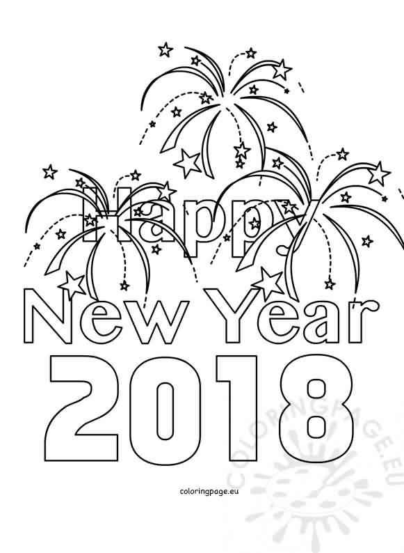 New Year 2018 Coloring Pages Template Image Picture Photo Happy New Year Coloring Page