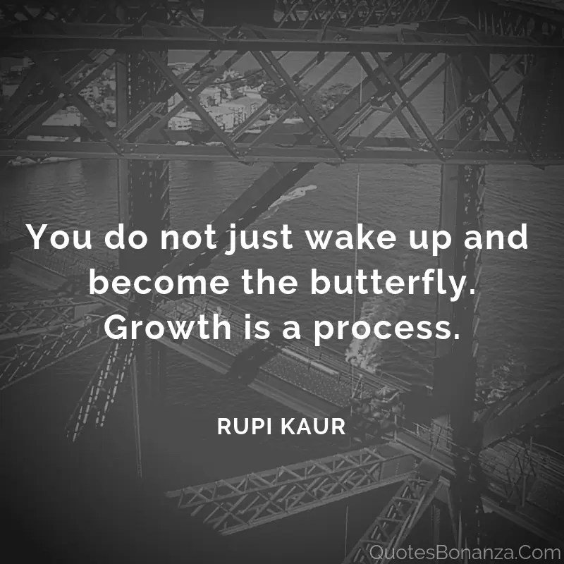 You do not just wake up and become the butterfly.