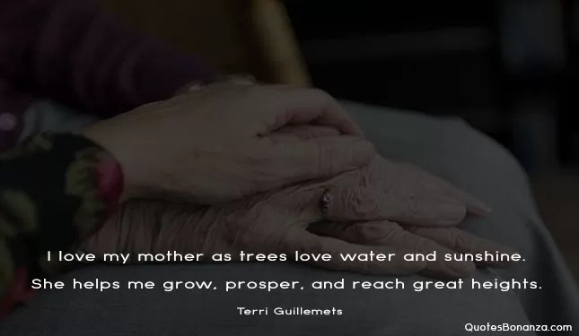 I love my mother as trees love water and sunshine. She helps me grow, prosper, and reach great heights.