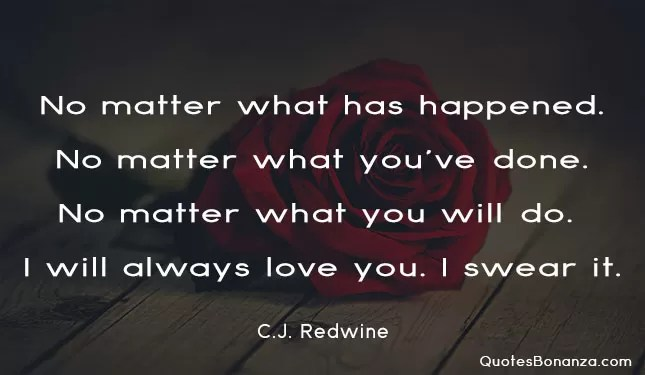 no matter what has happened no matter what you have done no matter what you will do i will always love you i swear it