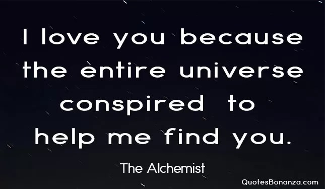 i love you because the entire universe conspired to help me find you