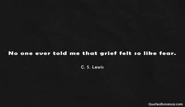 no one told me that grief felt so like fear. c s lewis quote