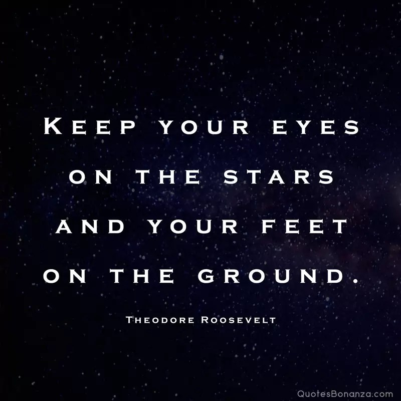 Keep your eyes on the stars and your feet on the ground. – Theodore Roosevelt