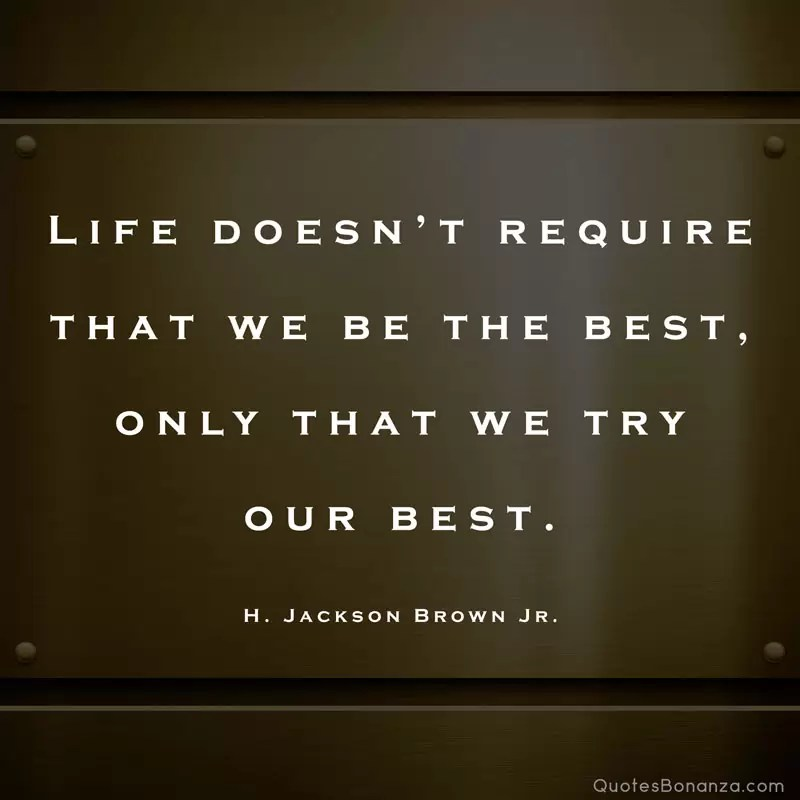 Life doesn't require that we be the best, only that we try our best. - H. Jackson Brown Jr.