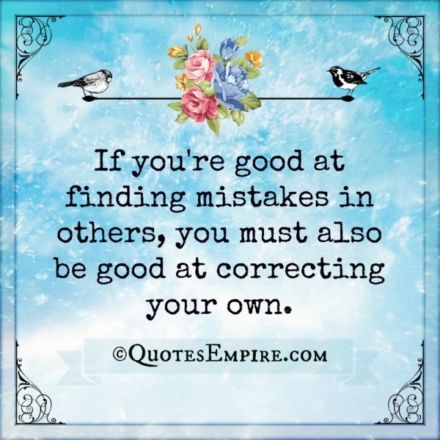 If you're good at finding mistakes in others, you must also be good at correcting your own.