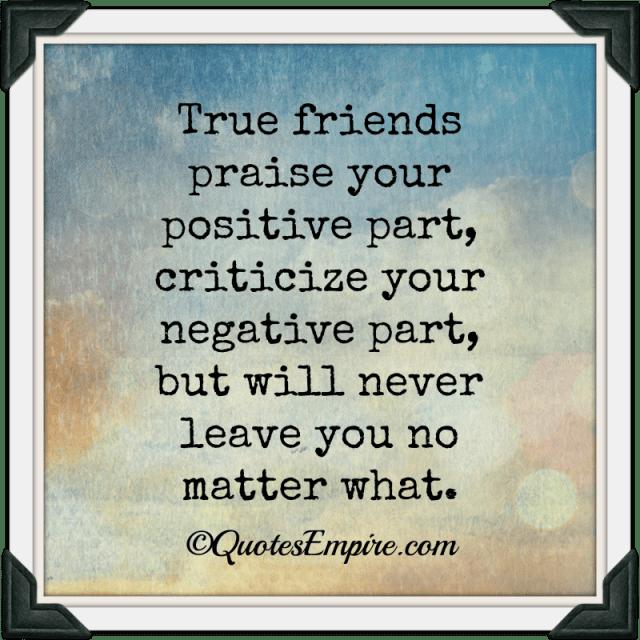 True friends praise your positive part, criticize your negative part, but will never leave you no matter what.
