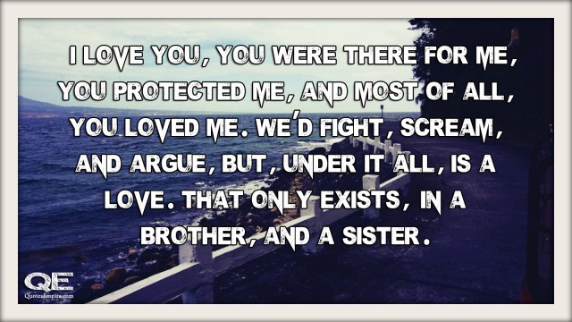 I love you, you were there for me, you protected me, and most of all, you loved me. We'd fight, scream, and argue, but, under it all, is a love. That only exists, in a brother, and a sister.