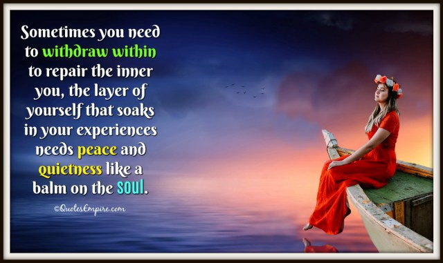 Sometimes you need to withdraw within to repair the inner you, the layer of yourself that soaks in your experiences needs peace and quietness like a balm on the soul.