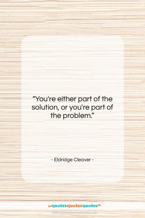 """Eldridge Cleaver quote: """"You're either part of the solution, or…""""- at QuotesQuotesQuotes.com"""