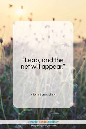 """John Burroughs quote: """"Leap, and the net will appear.""""- at QuotesQuotesQuotes.com"""